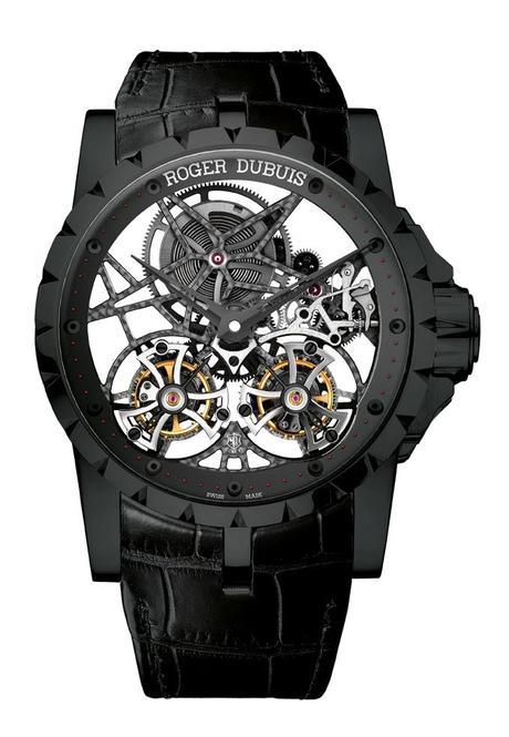 Roger Dubuis Double Tourbillon Volant Squelette en titane noir