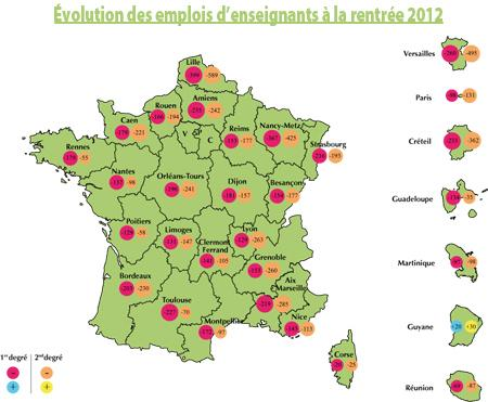 La carte des suppressions de postes d'enseignants en 2012