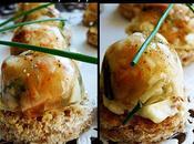 Petits aspics crevettes, surimi toast mayonnaise