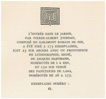 Pierre-Albert Jourdan, L'Entrée dans le Jardin, ex. 63