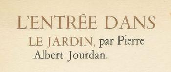 Pierre-Albert Jourdan, L'Entrée dans le Jardin, titre