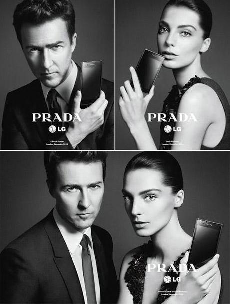 Edward Norton et Daria Werbowy, visages du PRADA phone by LG 3.0.