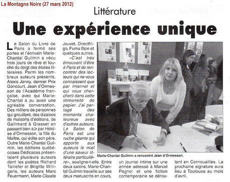 L'auteure Marie-Chantal Guilmin obtient un article de presse dans le quotidien La Montagne Noire, en France