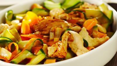 tagliatelles de legumes et poulet