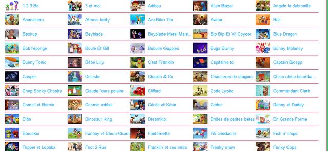 Dessin animé liste