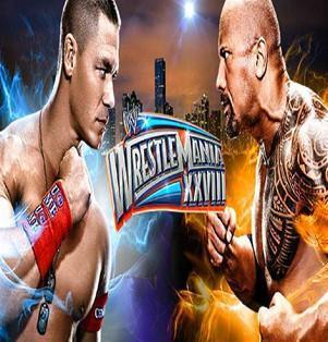 John Cena et The Rock sur l'affiche de Wrestlemania 28