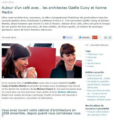 autour d un caf avec les architectes ga lle cuisy et karine martin paperblog. Black Bedroom Furniture Sets. Home Design Ideas