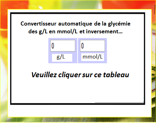 Conversion automatique de la glyc mie des g l en mmol l for Valeur de l are en m2