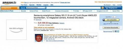 Le Galaxy S3 (était) disponible sur Amazon