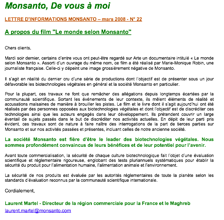 La communication selon Monsanto