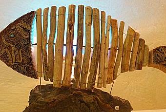 lampe poisson bois flotté   À Voir