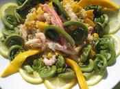 salades terre mer, bulghur fruits têtes violon mangue