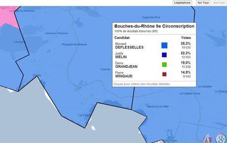 Google Maps détail Les résultats des législatives disponibles sur une carte interactive Google Maps
