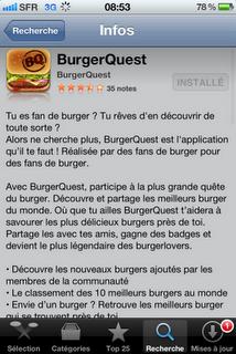 BurgerQuest - application iphone