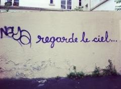 graff, tag, graffiti, street art, regarde, le, ciel, regarde le ciel