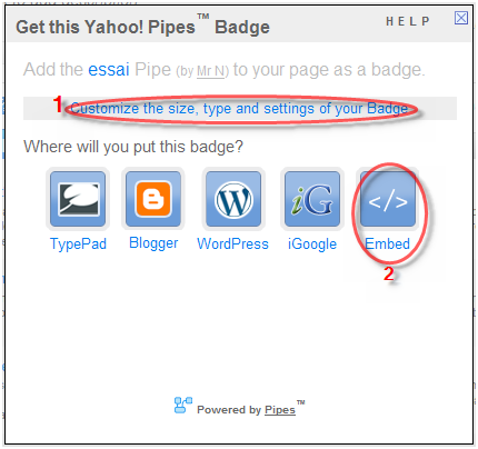 Yahoo! Pipes : RSS Widget