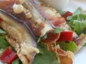 Salade l'aubergine grillée, vinaigrette d'houmous