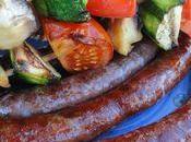 Saucisses merguez brochettes legumes