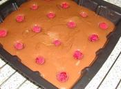 Brownie chocolat lait framboises