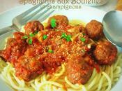spaghettis boulettes boeuf champignons