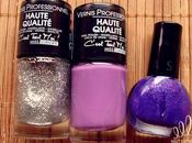 Ongles violet paillettes argentées