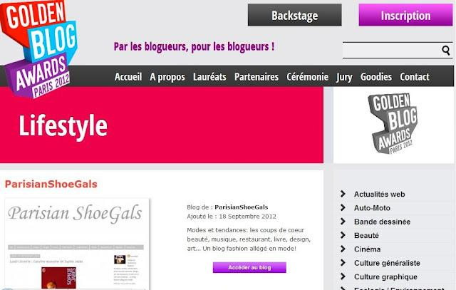 Participation de ParisianShoeGals aux Golden Blog Awards