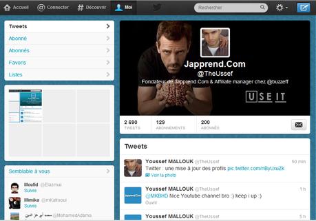 Mettre à jour votre profile Twitter et ajouter une En-tête à votre compte