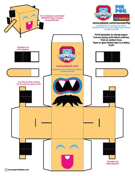 Monster Flip paper toys (x 6)