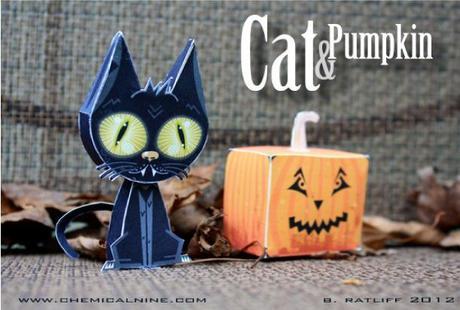 Cat and Pumpkin paper toys (x 2)