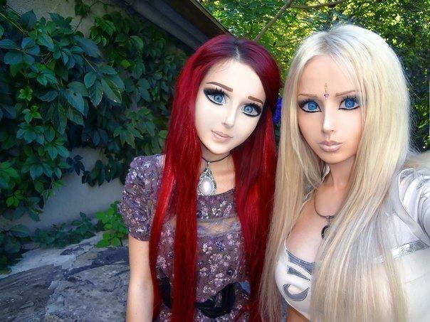 Here she is with real life Barbie, Valeria Lukyanova