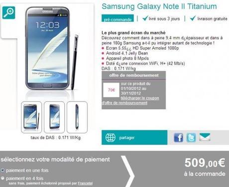 Le Galaxy Note 2 à 439 euros avec Sosh !
