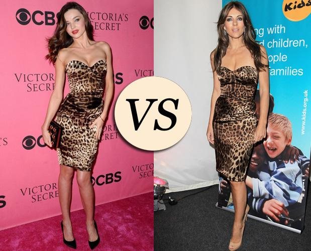 Battle Look : l'imprimé jungle. Miranda Kerr vs Elisabeth Hurley