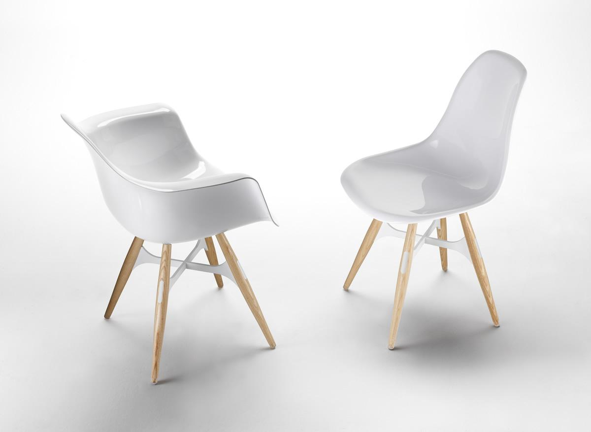 Chaises Zig zag Kubikoff blanches
