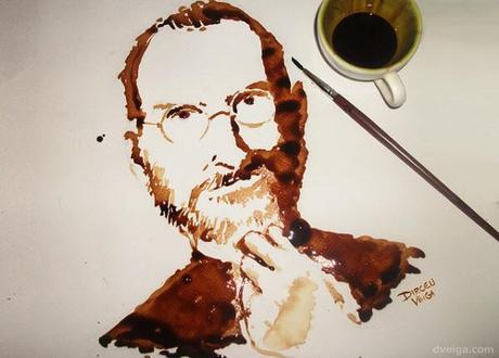 steve jobs - coffee painting