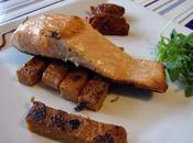 Saumon l'unilatéral, frites polenta tomates séchées concassée basilic