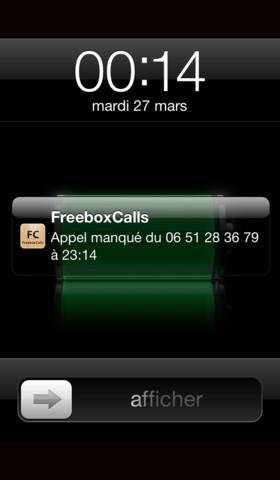 FreeboxCalls Freebox Revolution   Les appels manqués affichés sur iPhone et Mac OS X