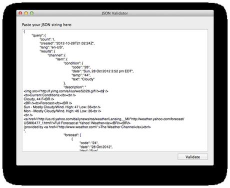 JSONValidator Outils de déboggage HTTP sous Mac OS X