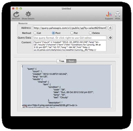 VIsualJSON Outils de déboggage HTTP sous Mac OS X