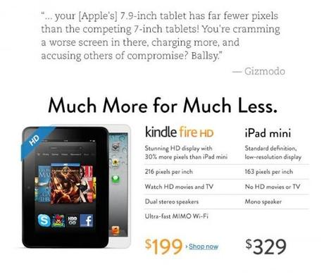 Quand Amazon tacle l'iPad mini