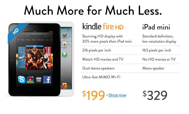kindle fire HD contre iPad mini