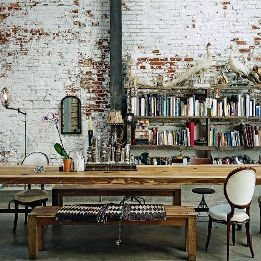 Grande table de loft et banc