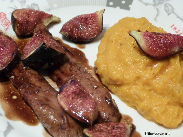 Aiguillettes de canard aux figues rôties et purée de patate douce / Duck with roasted figs and sweet potato puree