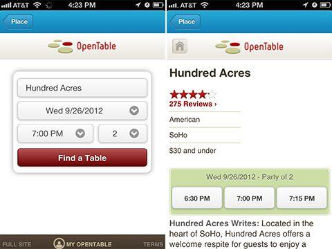 OpenTable in Foursquare