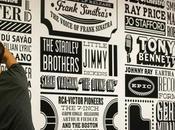 Superbe fresque typographique dans bureaux Sony Music