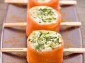 Apéritif fête, idées Bouchée saumon fumé bûche chèvre pomme Granny-smith