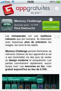 AppGratuites et Memory Challenge