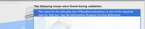 CFBundleLocalizations Errors