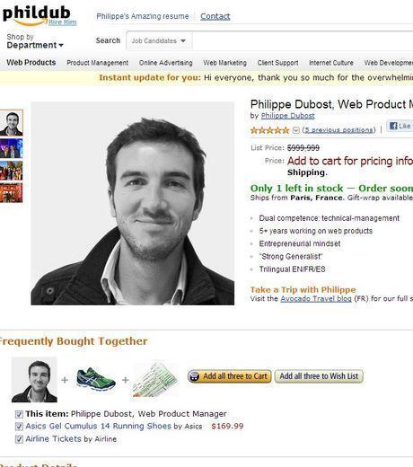 Philippe Dubost a créé un CV semblable à une page du site Amazon