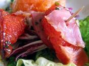 Salade colorée bacon croustillant pamplemousse rose