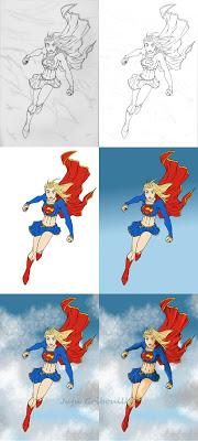 WIP - étape par étape de la colorisation de Super Girl